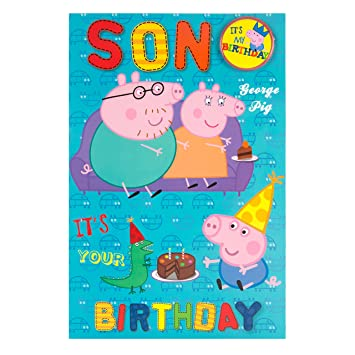 Peppa Pig Son Birthday Card With Badge Amazon Office Products