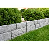 Zaun Rasenkante Beeteinfassung grau 2,34 m x 20 cm Höhe 2,5 cm stark Garten Beetumrandung