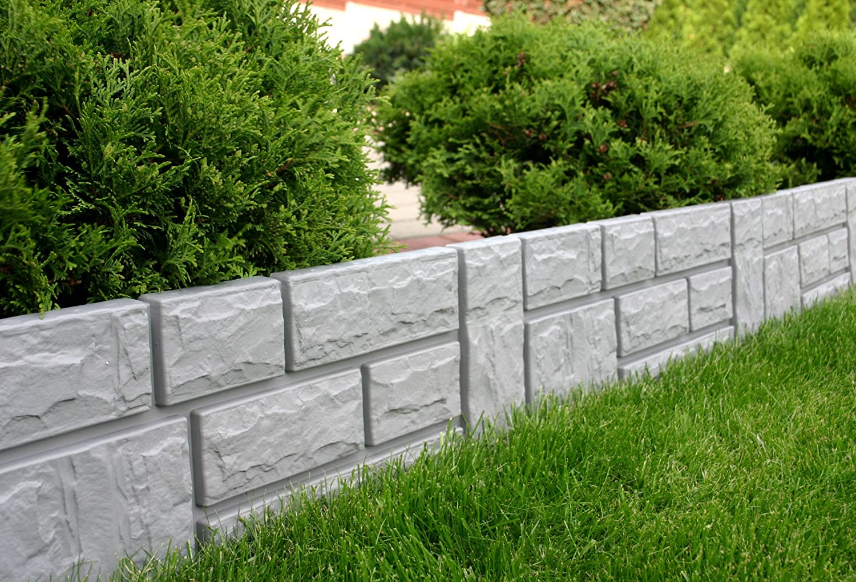 Zaun Rasenkante Beeteinfassung grau 2 34 m x 20 cm Höhe 2 5 cm