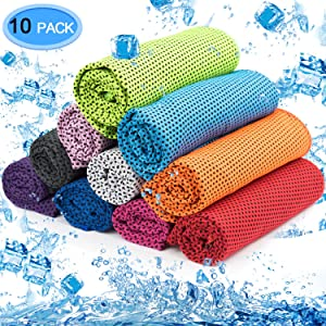 MENOLY 10 Pack Cooling Towel, Ice Towel Microfiber Towel Soft Breathable Chilly Towel for Sports Gym Yoga Camping Running Fitness Workout & More Activities (10 Colors)