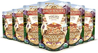 product image for Organic Chocolate Chip Pancake and Waffle Mix by Birch Benders, Whole Grain, Non-GMO, Just Add Water, 96 Ounce Family Pack (16oz 6-pack)