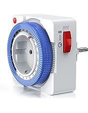 Arendo - Reloj mecánico conmutador 24 h | temporizador plug in de 24 h | 96