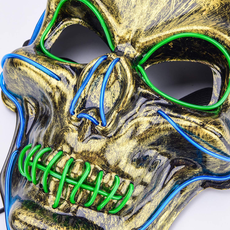 Ausein Halloween LED Mask Scary Skull Mask LED Light Up Lighting Skeleton Masquerade Mask for Halloween Cosplay Festival Party, Blue Green