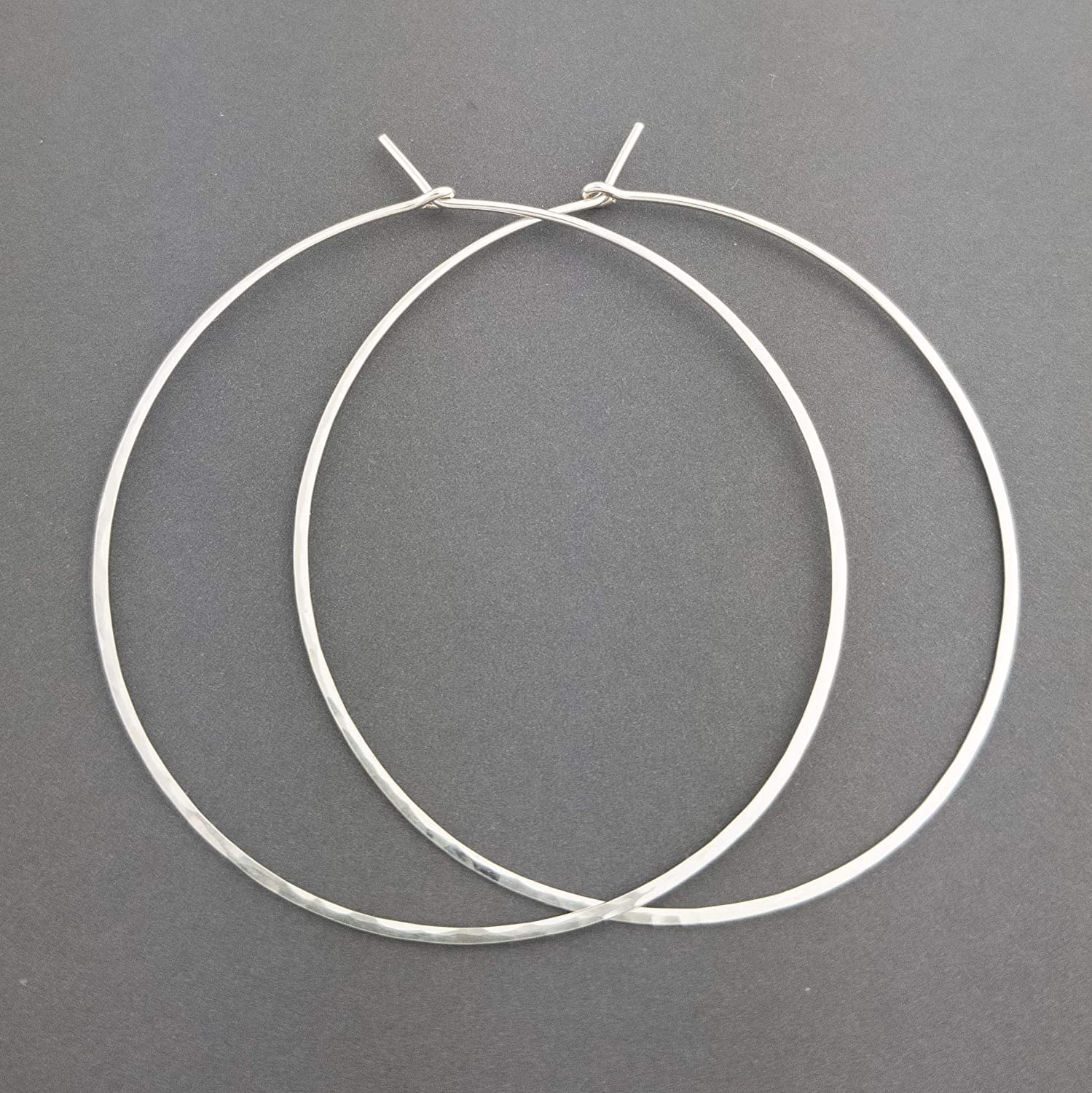 "2"" Thin Hammered Sterling Silver Hoop Earrings 20 gauge (.8mm wire) 91ySBjDklIL"