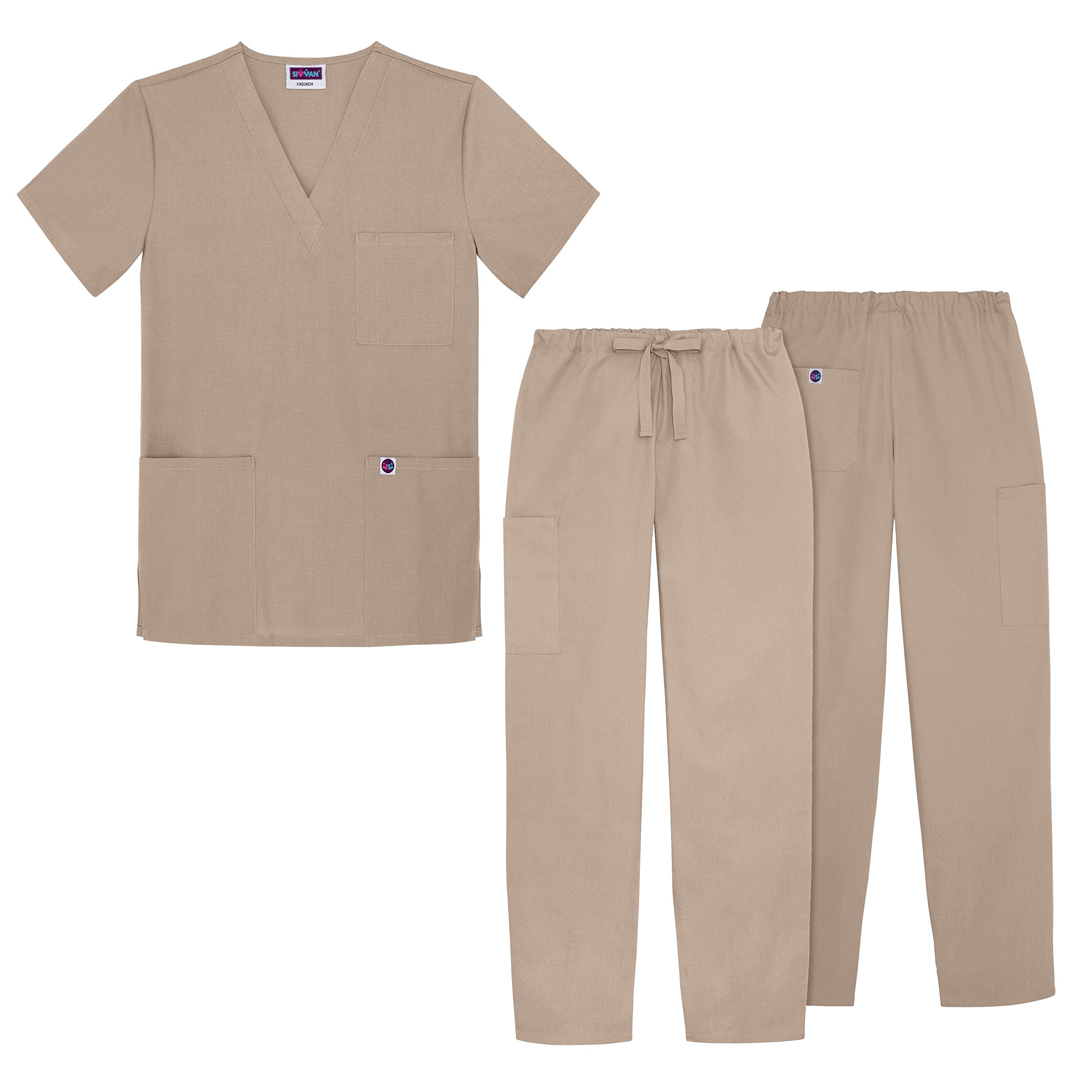 Sivvan Unisex Classic Scrub Set V-neck Top / Drawstring Pants (Available in 12 Solid Colors) - S8400 - Khaki - XL