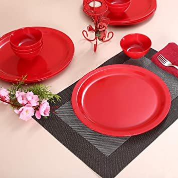 Iveo Melamine Dinner Set, 12-Pieces, Red