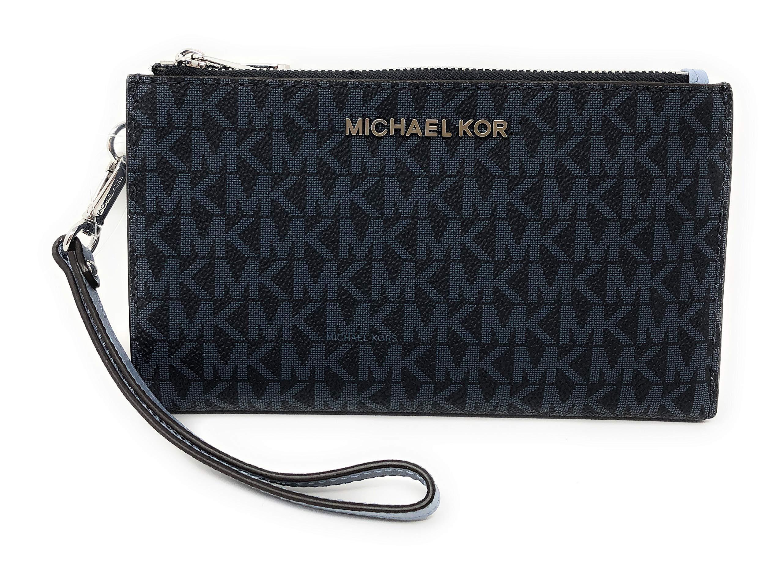 Michael Kors Jet Set Travel Double Zip Saffiano Leather Wristlet Wallet (Navy)