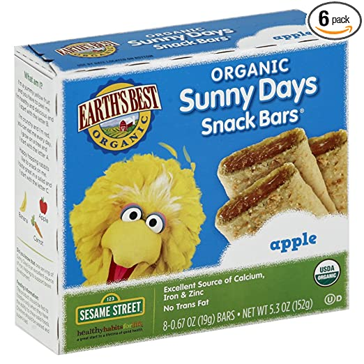 Earth's Best Organic Sunny Days Snack Bars, Apple, 8 Count (Pack of 6) ( 5.3 oz Packets )