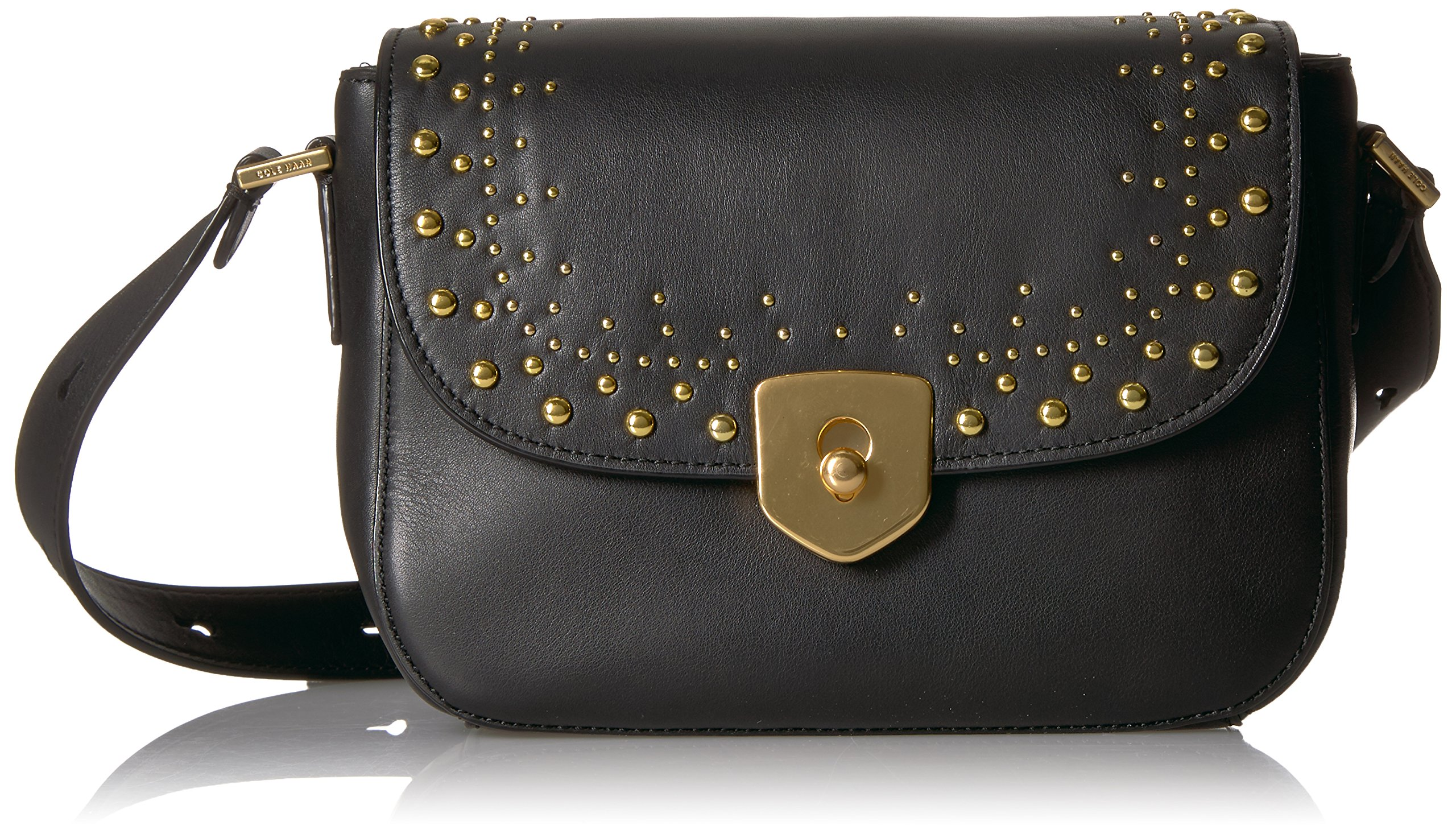 Cole Haan Marli Studding Mini Saddle, black, One Size by Cole Haan