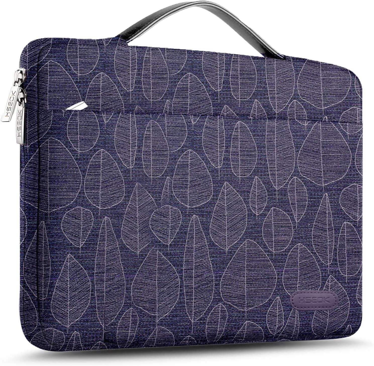 Hseok Laptop Sleeve 15 15.6 16 Inch Case Briefcase, Compatible MacBook Pro 16 15.4 inch, Surface Book 2/1 15 inch Spill-Resistant Handbag for Most Popular 15-16 inch Notebooks, Golden Leafs