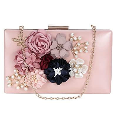Tanpell Womens Flower Clutches Pearl Besded Evening Bags Handbags Wedding  Clutch Purse Pink