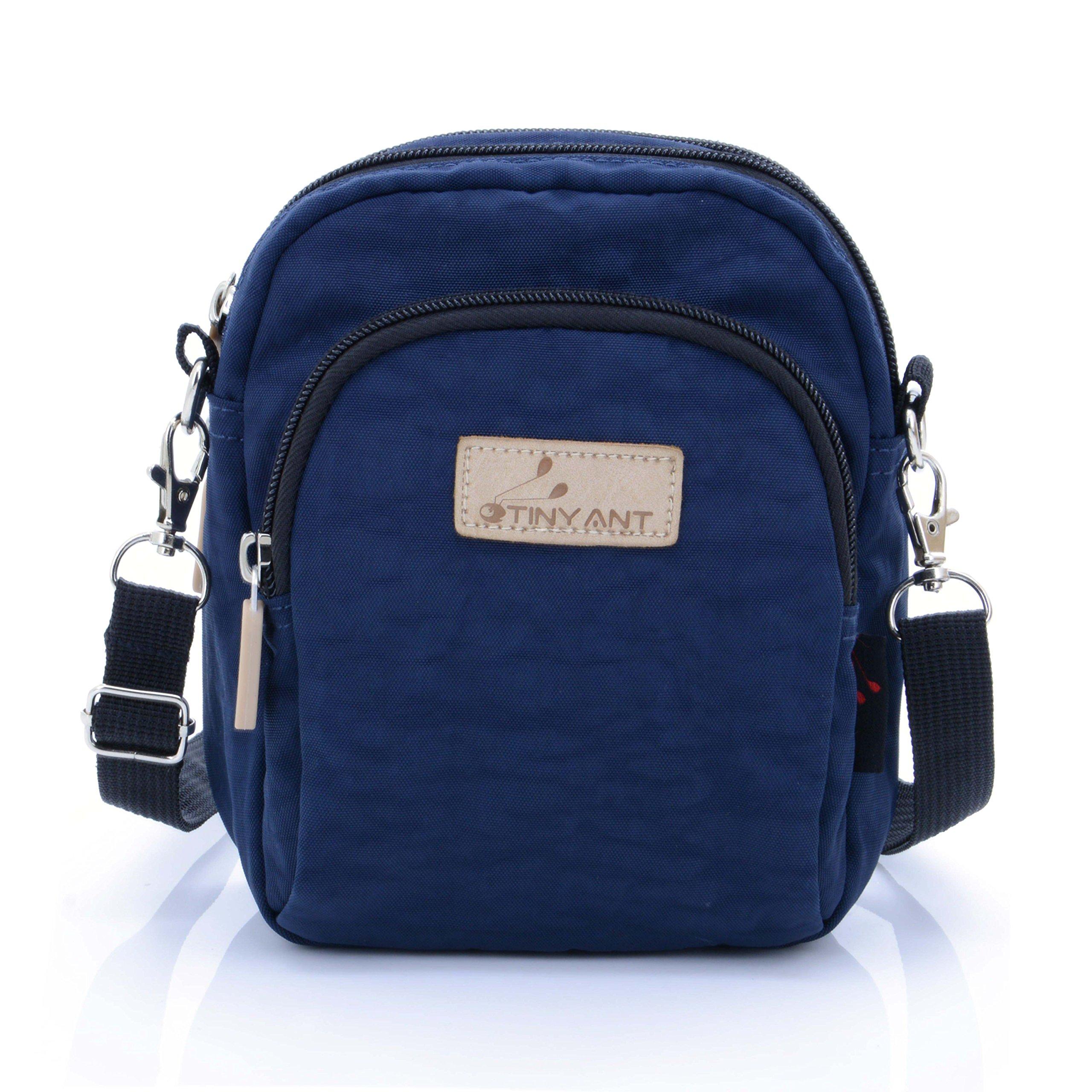 Women's 3 Layers Wristlet Purse Zipped Cell Phone Clutch Crossbody Handbags(Waist/Shoulder Bag-Dark Blue)