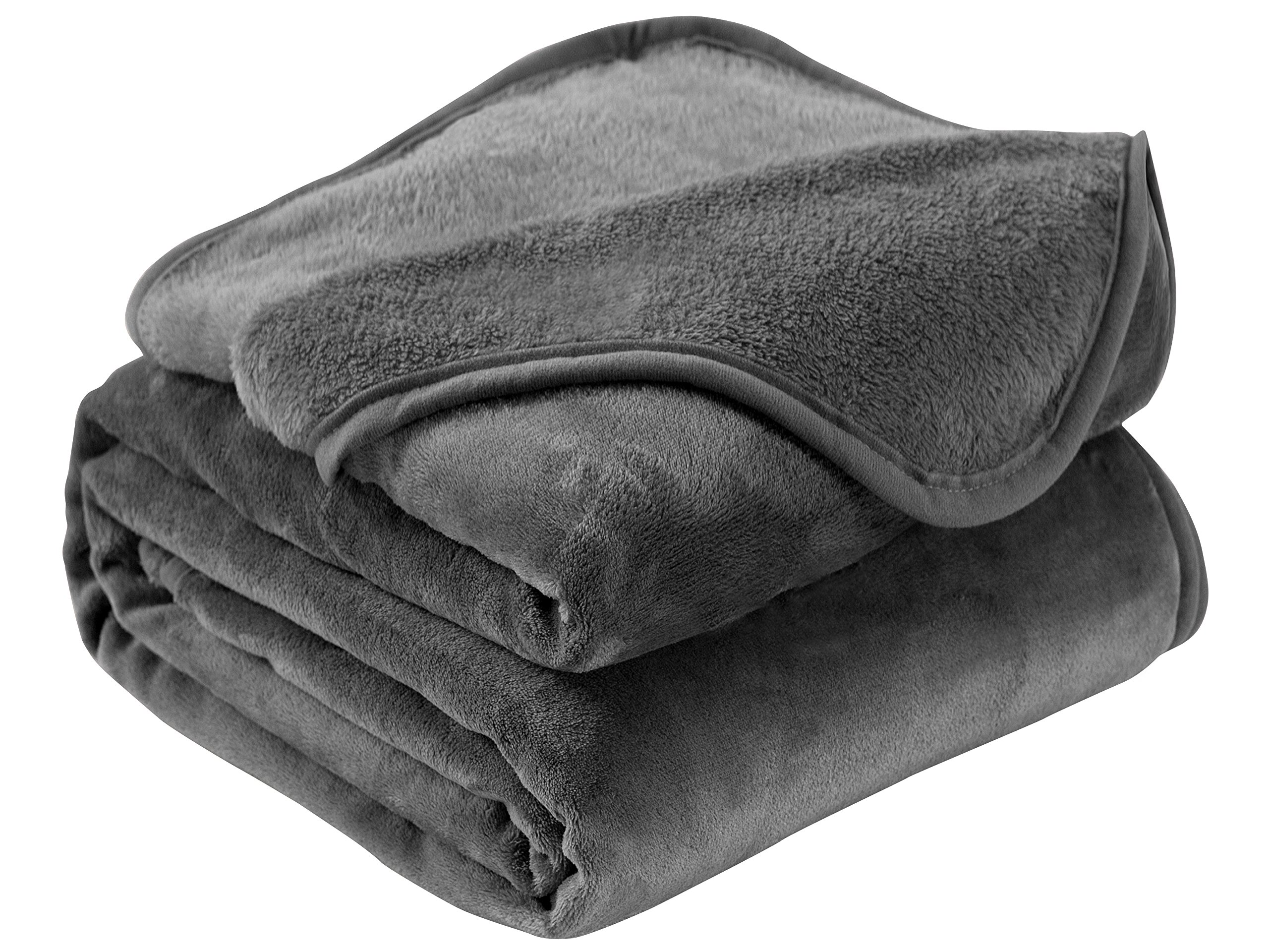 Exclusivo Mezcla Luxury Queen Size Flannel Velvet Plush Solid Bed Blanket (90'' x 90'', Grey) - Soft, Lightweight, Warm and Cozy