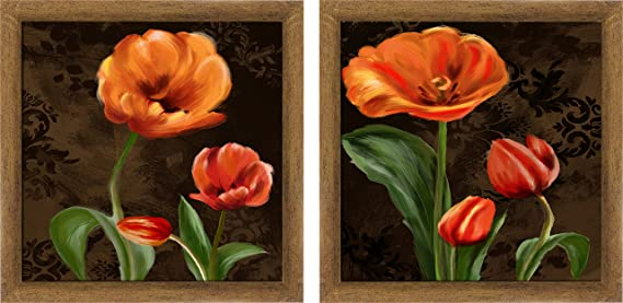 Ptm Images 1 20772a 1 Unit Orange Poppies Frame 14 By 14 Inch Gold Set Of 2 Amazon Com