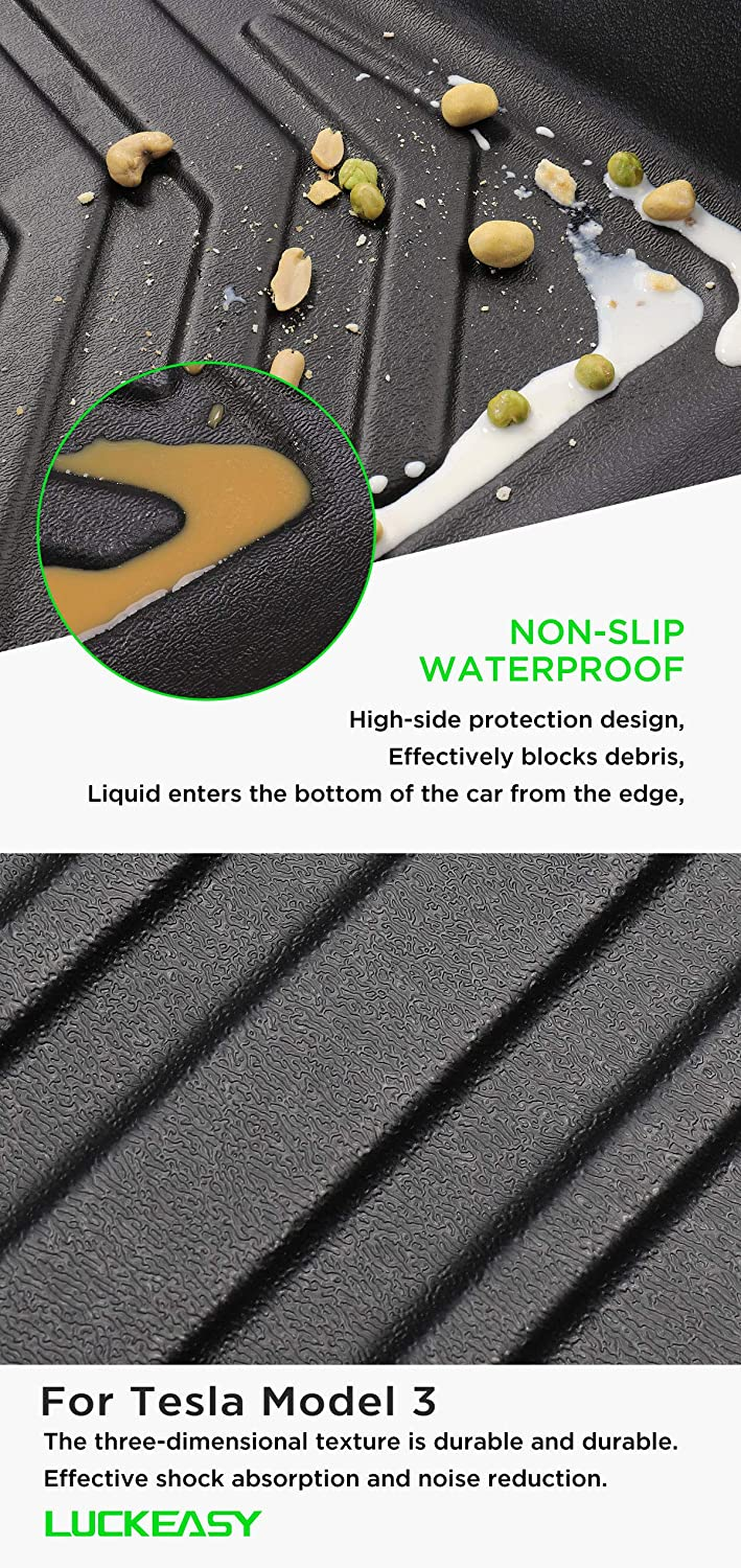 LUCKEASY for Tesla Model 3 2017 2018 2019 TPE Car Waterproof and odorless TPE Trunk mat//Front Box 1pcs//Set Front
