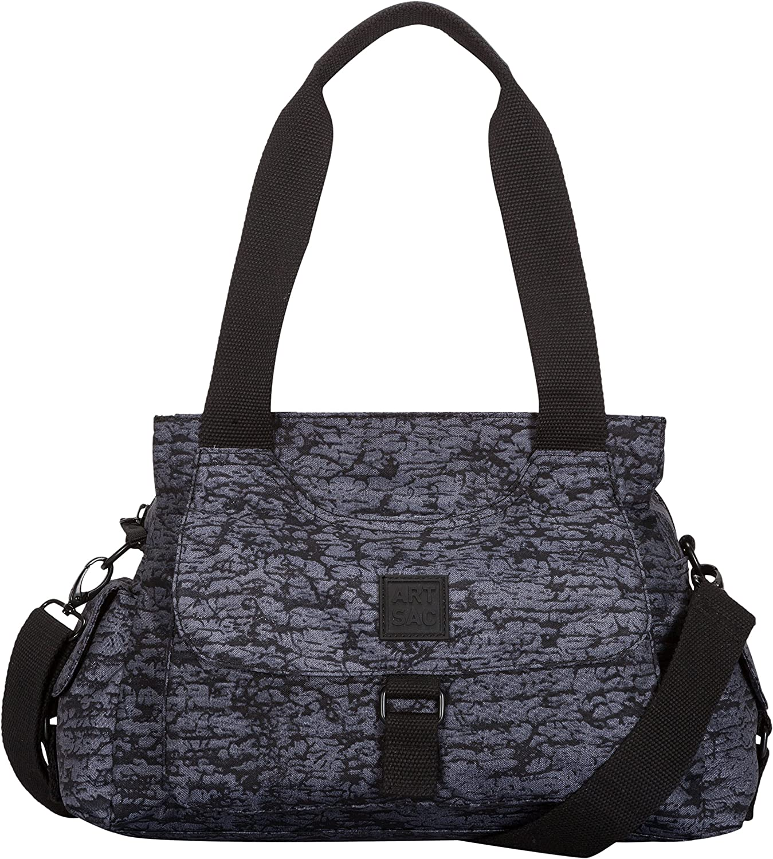ARTSAC - Larger Zip Top Flap Fronted Reef Fabric, Shoppers y bolsos de hombro Mujer, Negro (Black), 380x280x250 cm (W x H L)