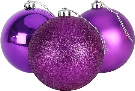 Christmas Concepts® Pack de 3 - Adornos de árbol de Navidad Extra Grandes de 150 mm - Adornos Brillantes, Mate y con Brillo (púrpura): Amazon.es: Hogar