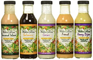 Walden Farms Salad Dressing - Thousand Island-Honey Dijon- French- Caesar- Balsamic Vinaigrette - Calorie Free, Fat Free, Gluten Free, Sugar Free - Variety Pack 5x12oz