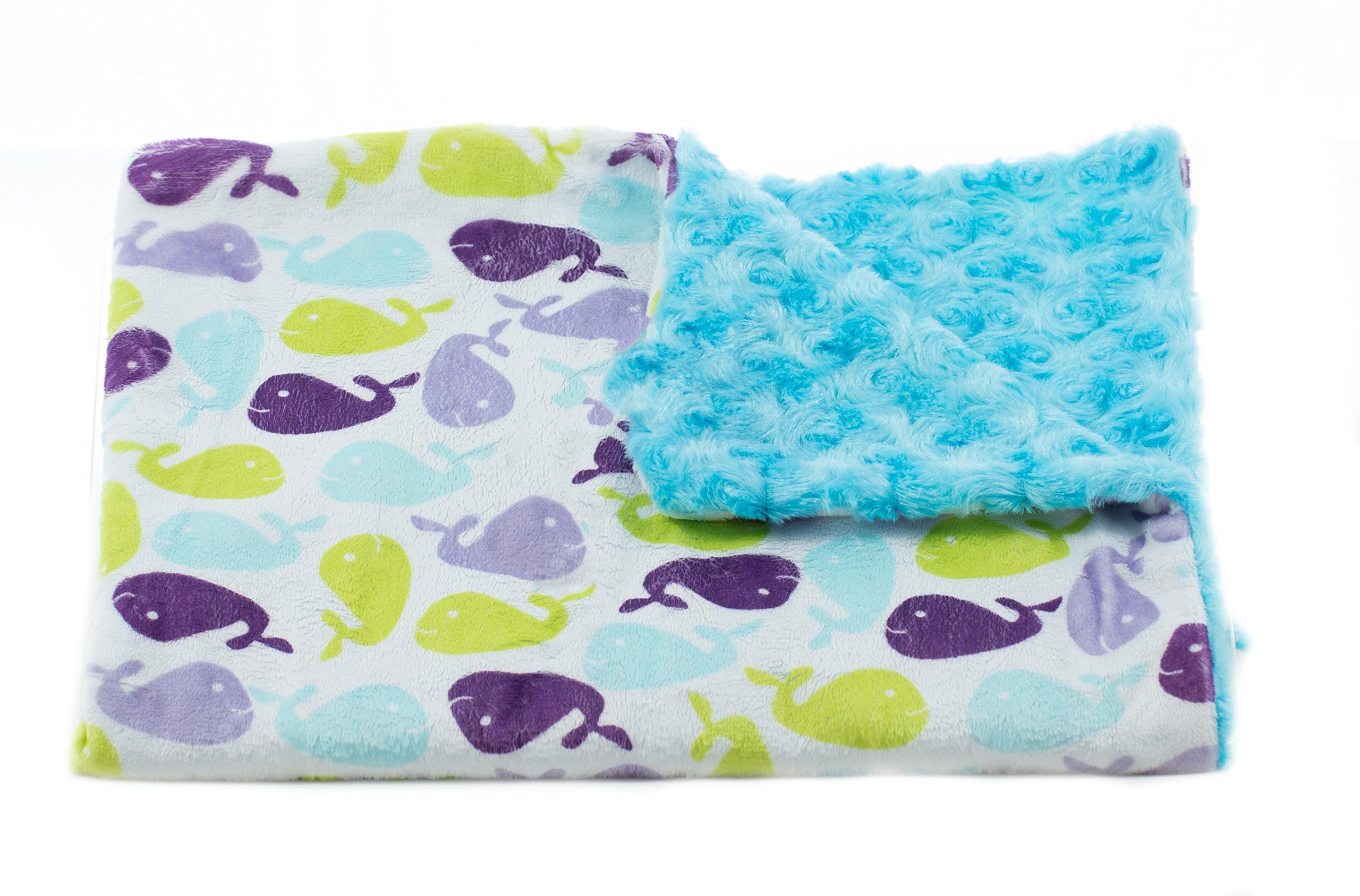 Tourance Whales Toddler Blanket, Blue, 30'' x 45''