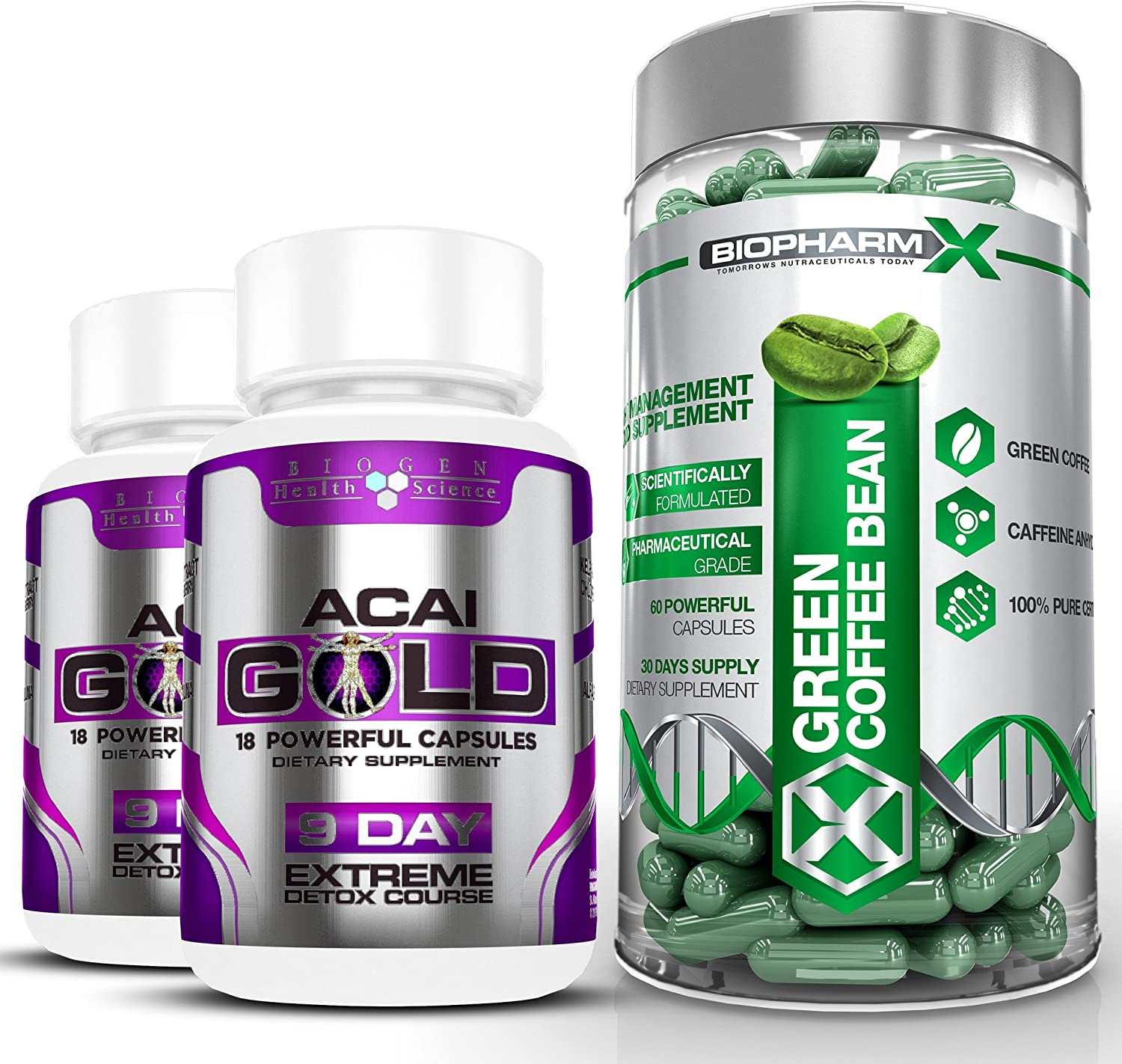 Biopharm-X Green Coffee Bean Extract & Acai Berry Gold : Max Strength Diet/Detox & Weight Loss Bundle (1 Month Supply)