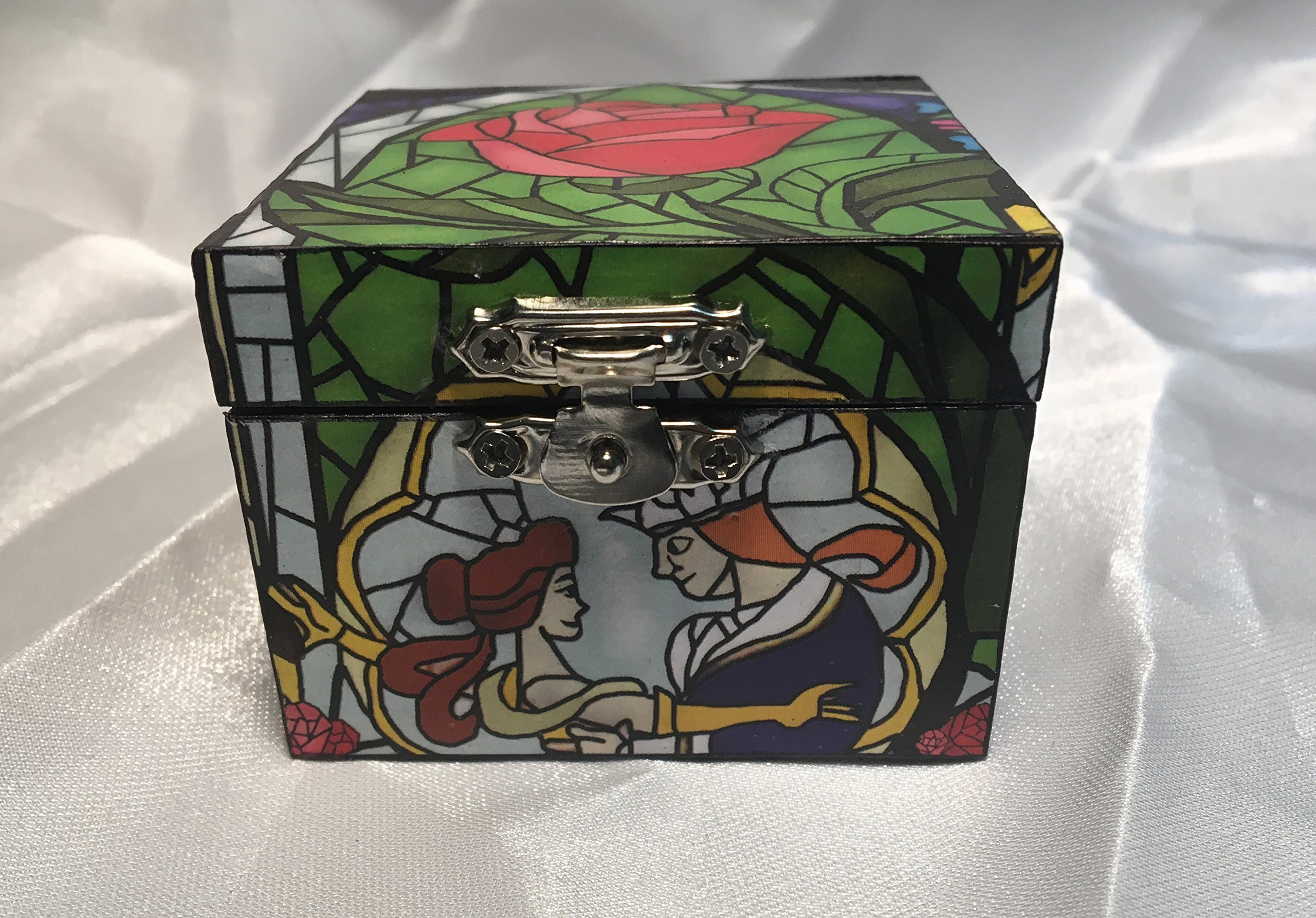 Beauty and the Beast Rose Stained Glass Solid Top Inspired Proposal Engagement Ring Box Bearer Pillow Box