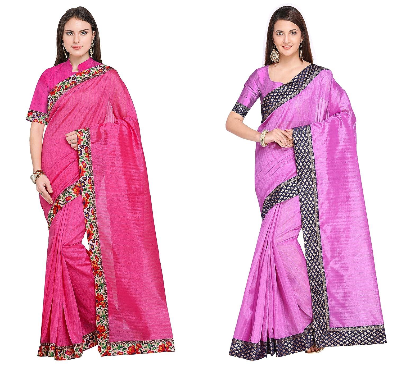 Florence Women's Pink and Purple Bhagalpuri Silk Combo Saree