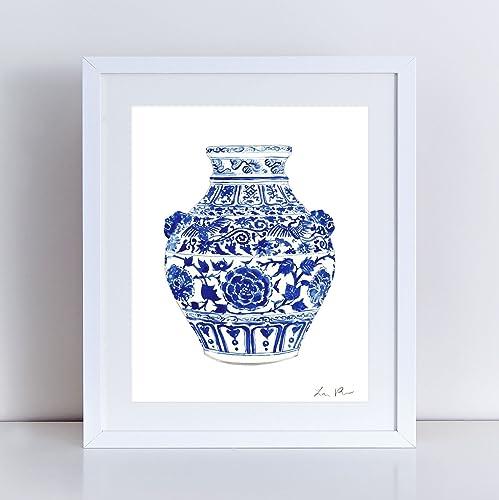 Amazon China Ginger Jar Art Vase 4 Blue And White Porcelain
