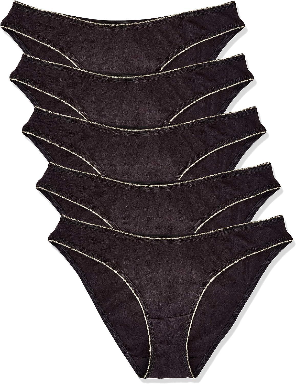 Marca Amazon - Iris & Lilly Braga Brasileña de Algodón Mujer, Pack de 5, Negro (Black), XL, Label: XL: Amazon.es: Ropa y accesorios
