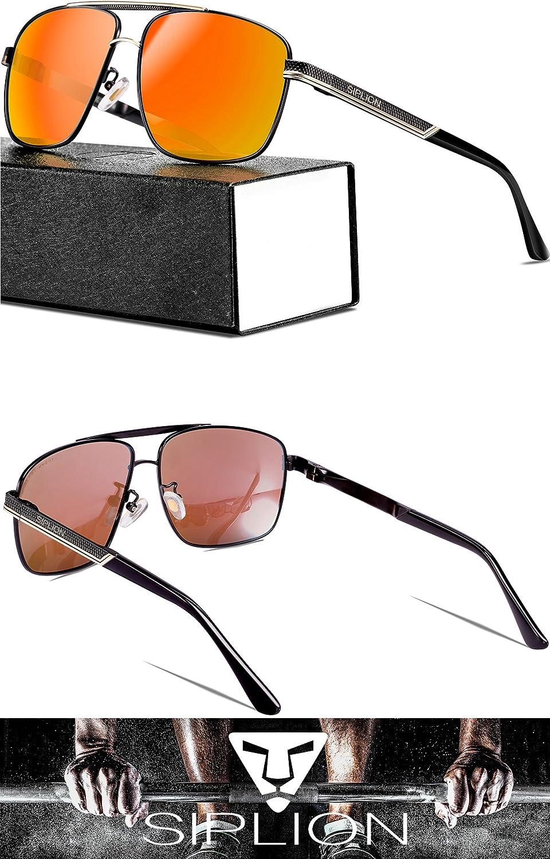 2b2602d449ac9 SIPLION Men s Driving Polarized Rectangular Square Sunglasses Metal Frame  1823 larger image