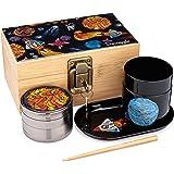 Lost in Space Stash Box Combo, 4 Part Herb Grinder, UV Glass Jar (100 ml), Rocket Tray, Poking Tool, Locking Stash Box…