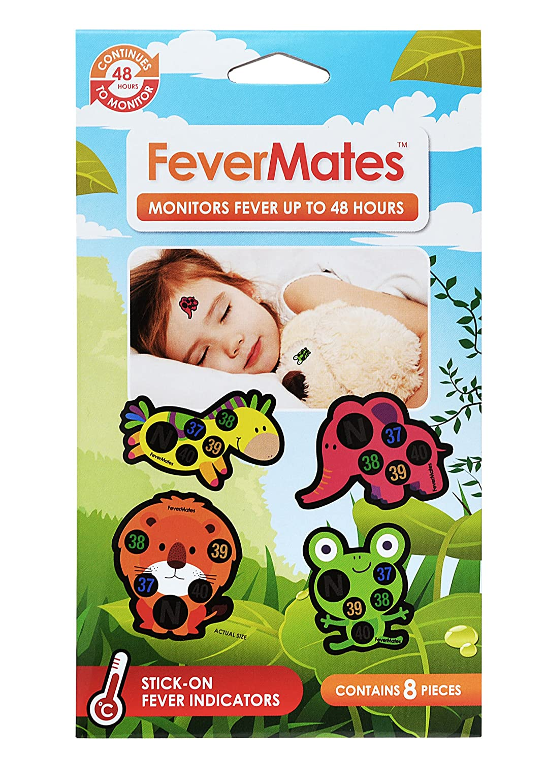 Fevermates Stick-On Fever Thermometer Cartoon Stickers Temperature Indicator Labels(One pack of 8 pieces) 160715