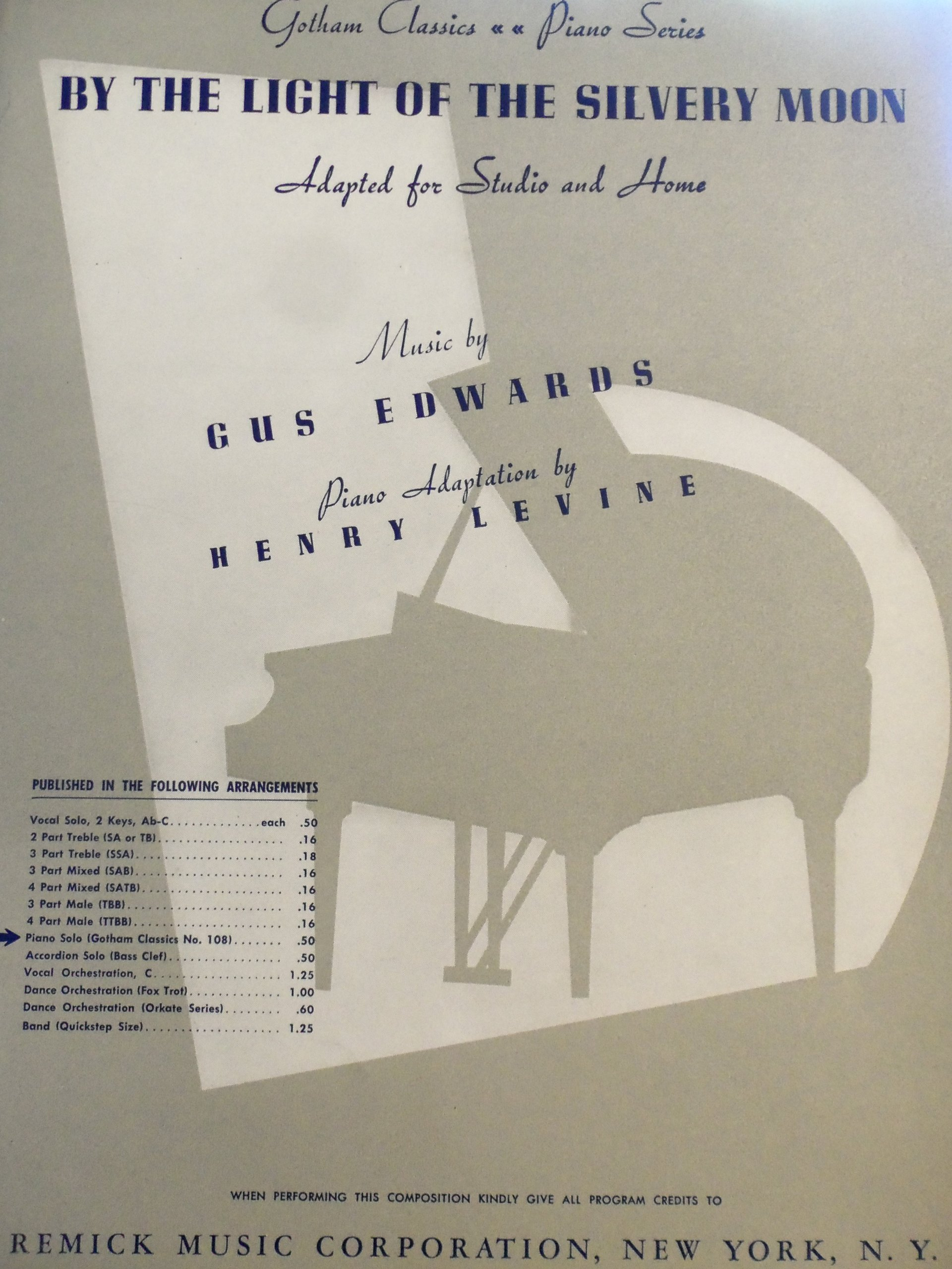 By the Light of the Silvery Moon Piano Adaptation by Henry Levine
