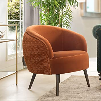 Amazon Com Jennifer Taylor Home York Mid Century Modern Ruched Barrel Chair Burnt Orange Furniture Decor