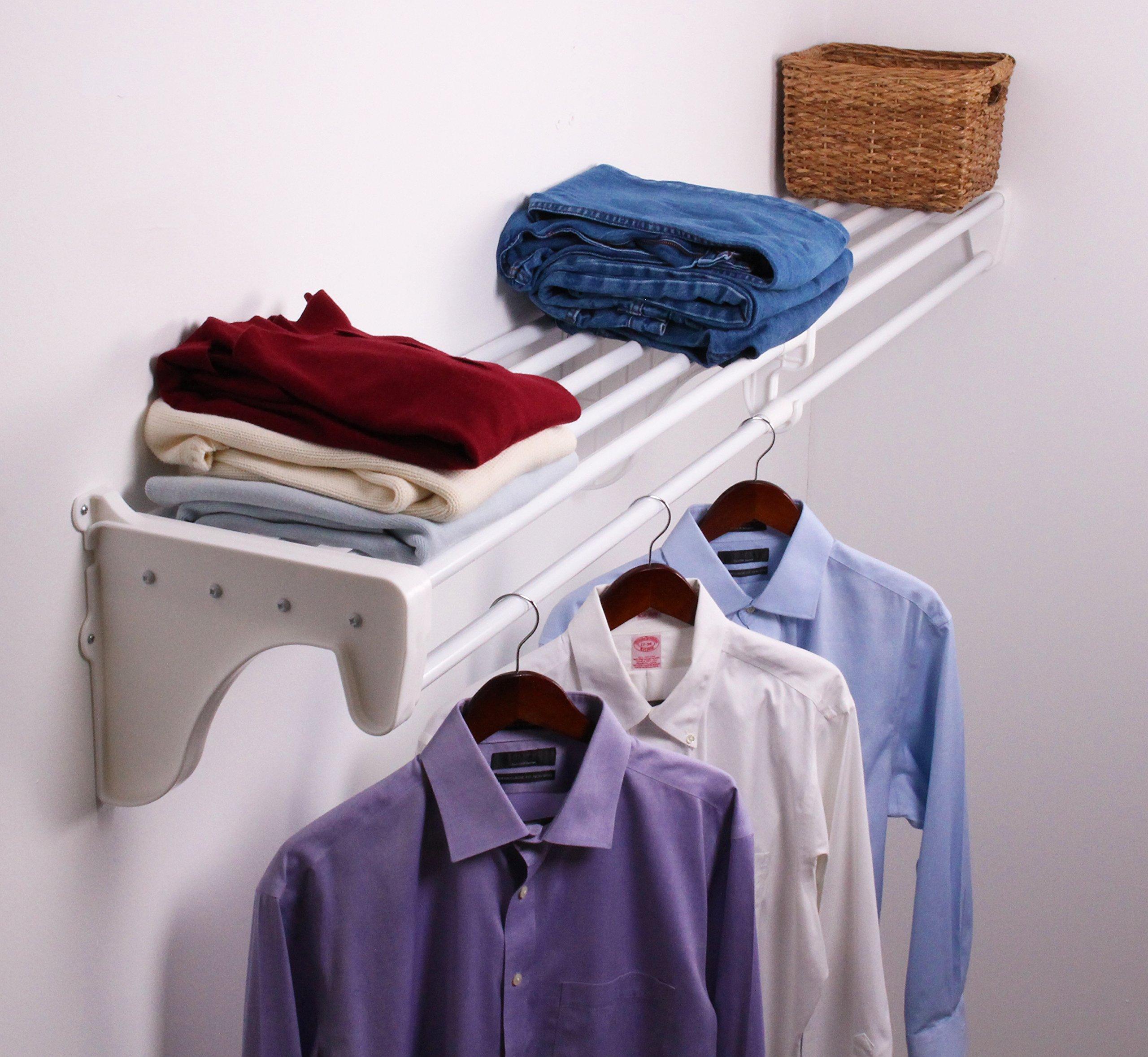 EZ Shelf EZS-SCRW72-1-1 Expandable Closet/Rod, Bracket for Mounting to One Side and Back Wall, White