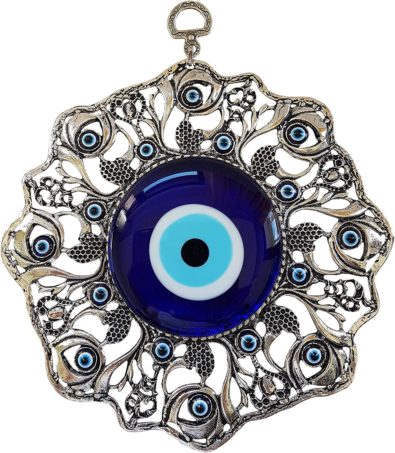Erbulus Turkish Large Glass Blue Evil Eye Wall Hanging Ornament with Eye - Metal Home Decor - Turkish Nazar Bead Amulet - Protection and Good Luck Charm Gift in a Box