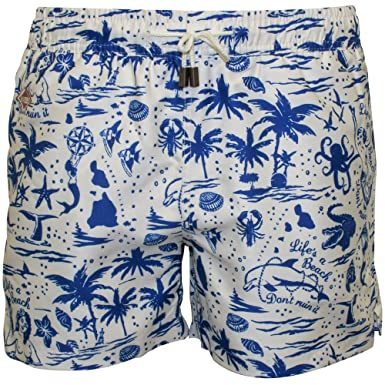 173124f405 Nikben Life's a Beach Men's Swim Shorts, Navy/White Small Navy/White