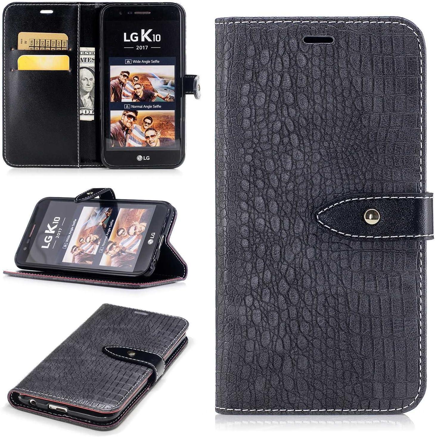 LG K10 2017 móvil, conber piel funda con [gratis Protector de ...