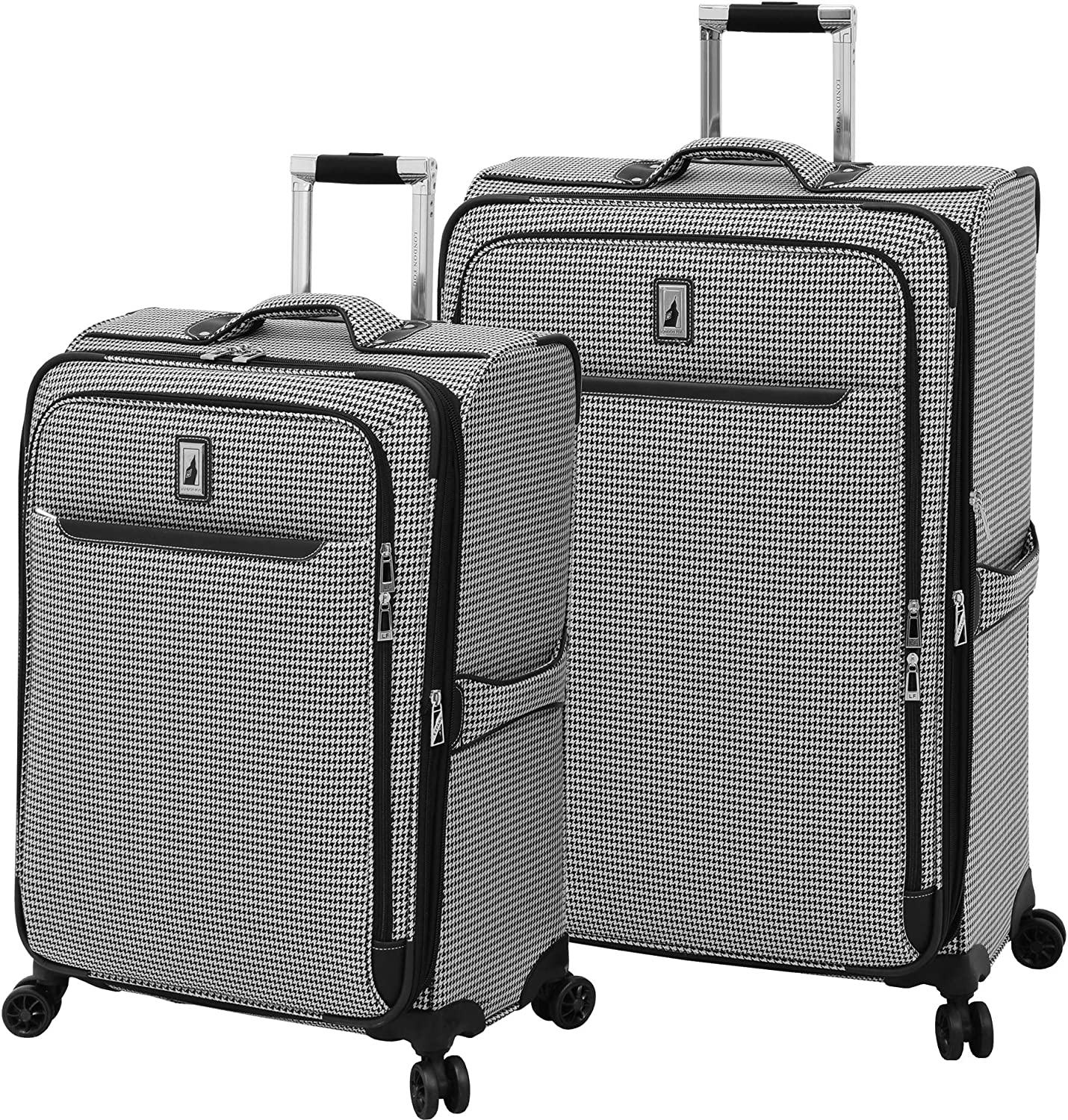 black white houndstooth London Fog Cambridge II Softside Expandable Spinner Luggage