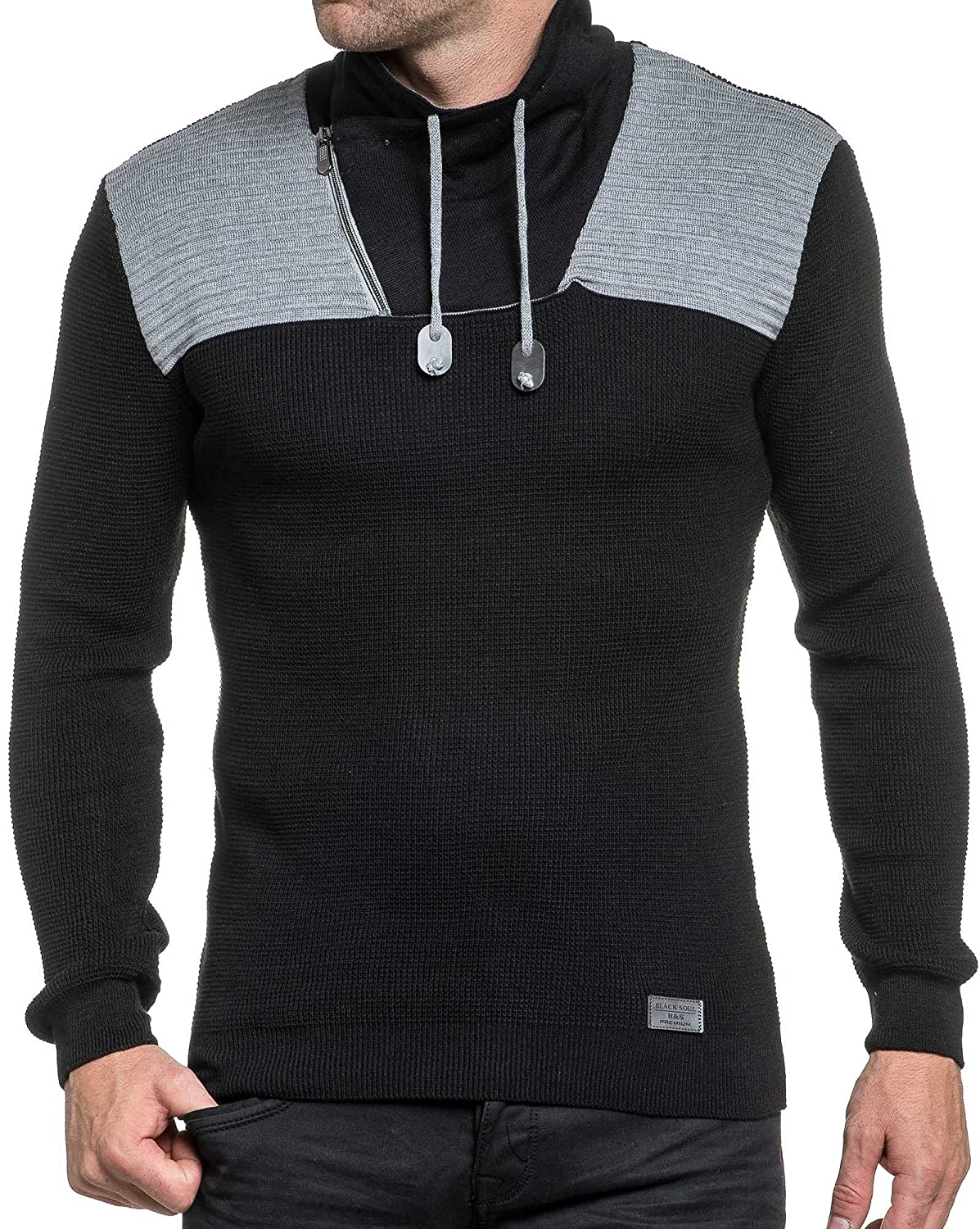 BLZ jeans - Pullover black and gray zipped shawl collar man