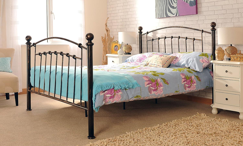 3 ft Single Bronze Bett Rahmen mit abgerundeten Endstücken und Tanya ...