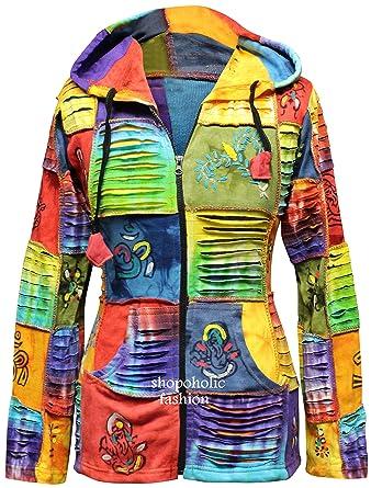 SHOPOHOLIC FASHION para Mujer de Colores Rasgada Retales Hippie Sudadera con Capucha - Multi, XXX-Large: Amazon.es: Ropa y accesorios