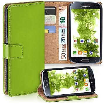 moex Samsung Galaxy S4 Mini   Hülle Grün mit Karten-Fach 360° Book Klapp-Hülle Handytasche Kunst-Leder Handyhülle für Samsung