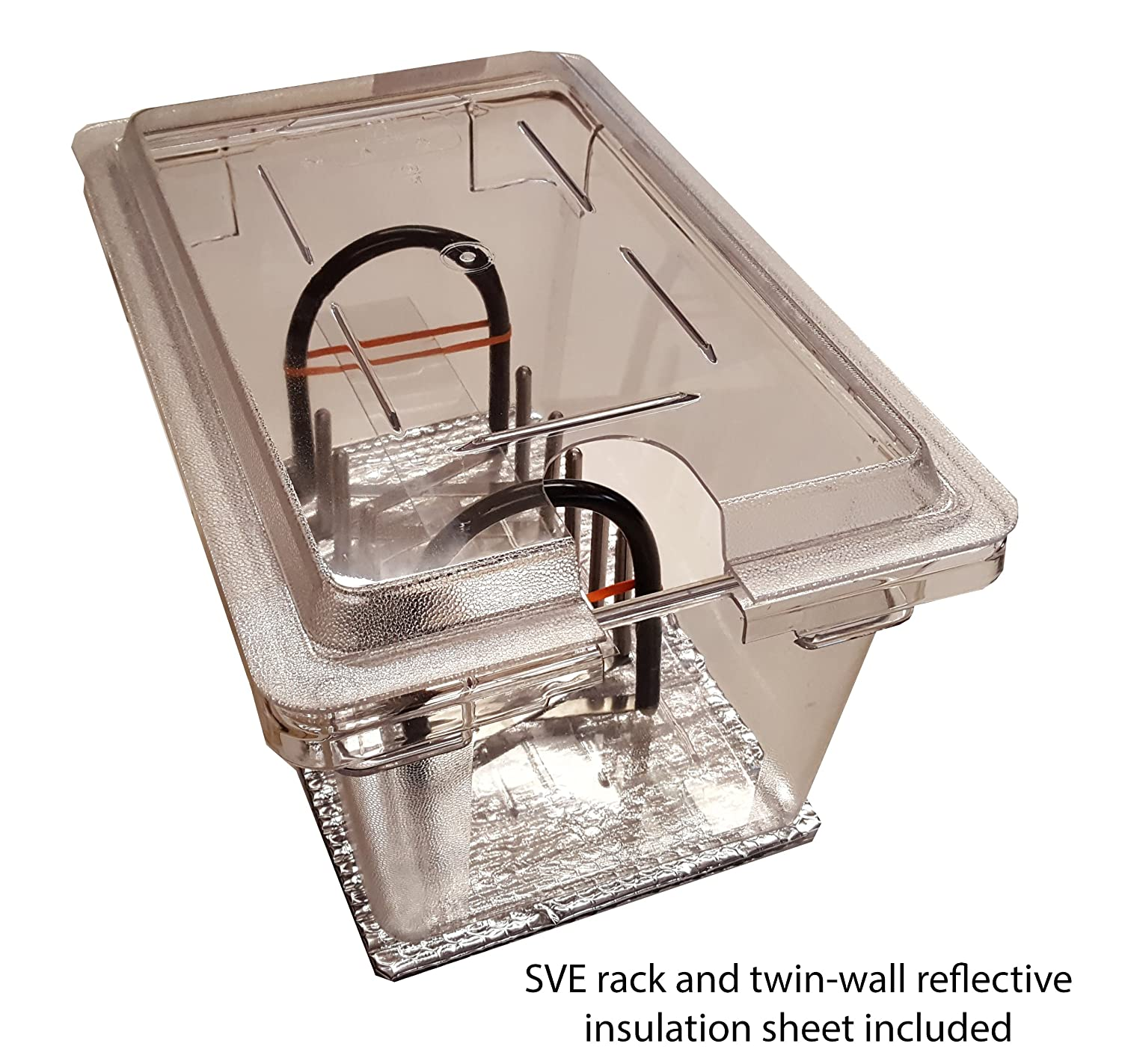 Perfect-Sousvide 5PL1R 4.75 Gal. (19 qt) Clear Polycarbonate Pan, Custom Lid and Expandable Rack for Circulator Sous Vide