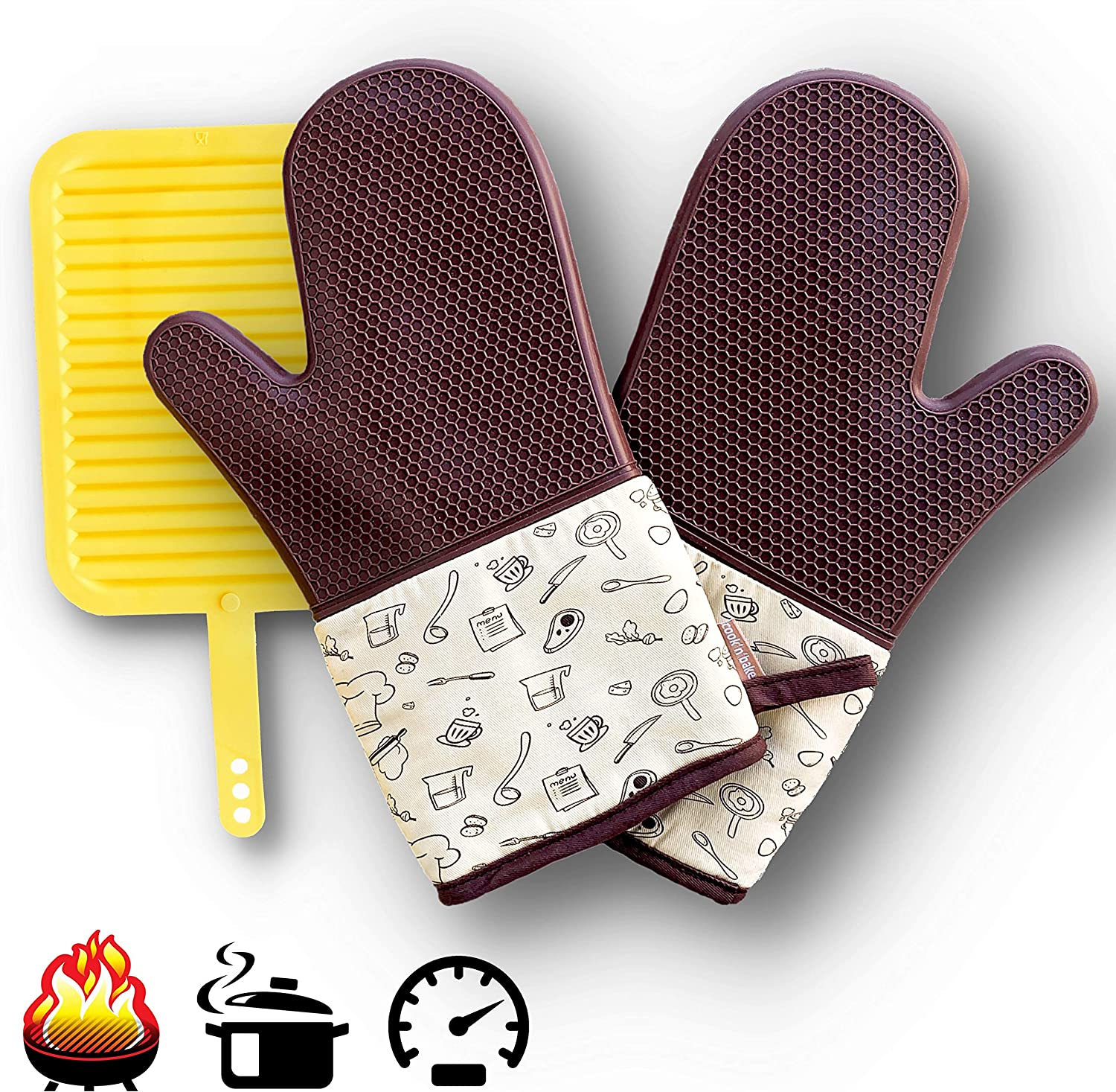 Pair of Silicone Oven Mitt Set with Silicone Mat, Brown and Beige Silicone Gloves for Kitchen Cooking, Baking and Outdoor BBQ Grill and Smoker, Mat for Hot Pad
