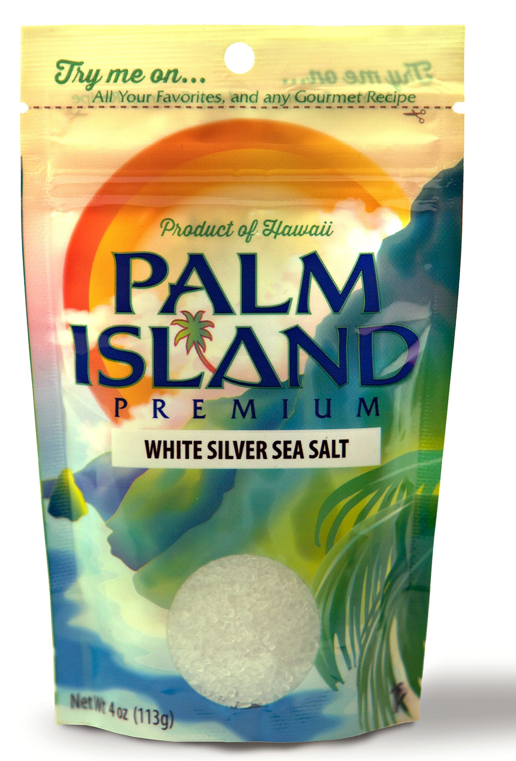 Palm Island Premium White Silver Sea Salt, 4-Ounce Pouch (Pack of 6) by Palm Island Premium