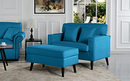 Mid Century Modern Living Room Large Accent Chair With Footrest/Storage  Ottoman (Blue
