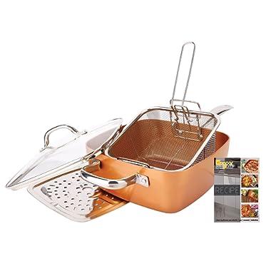 Non-Stick Copper Titanium Chef 5 Piece 9.5  Square Pan Set