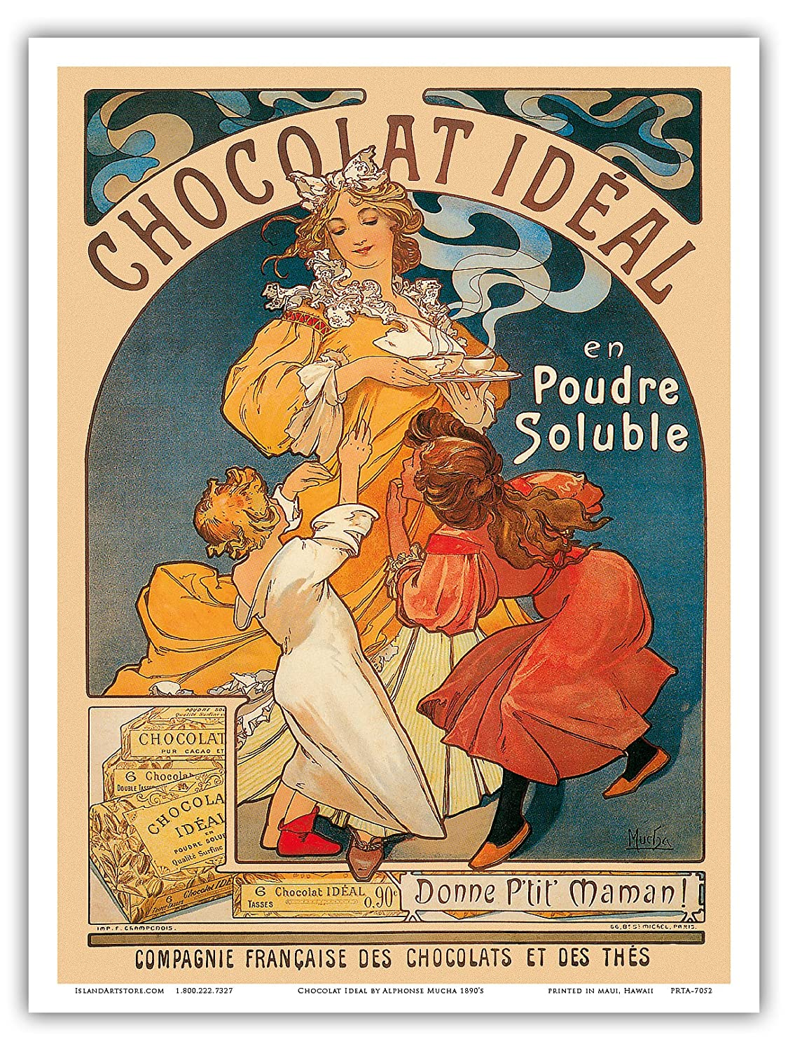 Pacifica Island Art Vintage Advertising Poster Alphonse Mucha c.1890/'s Chocolat Ideal Cocoa Cacao 9in x 12in Inc. Master Art Print