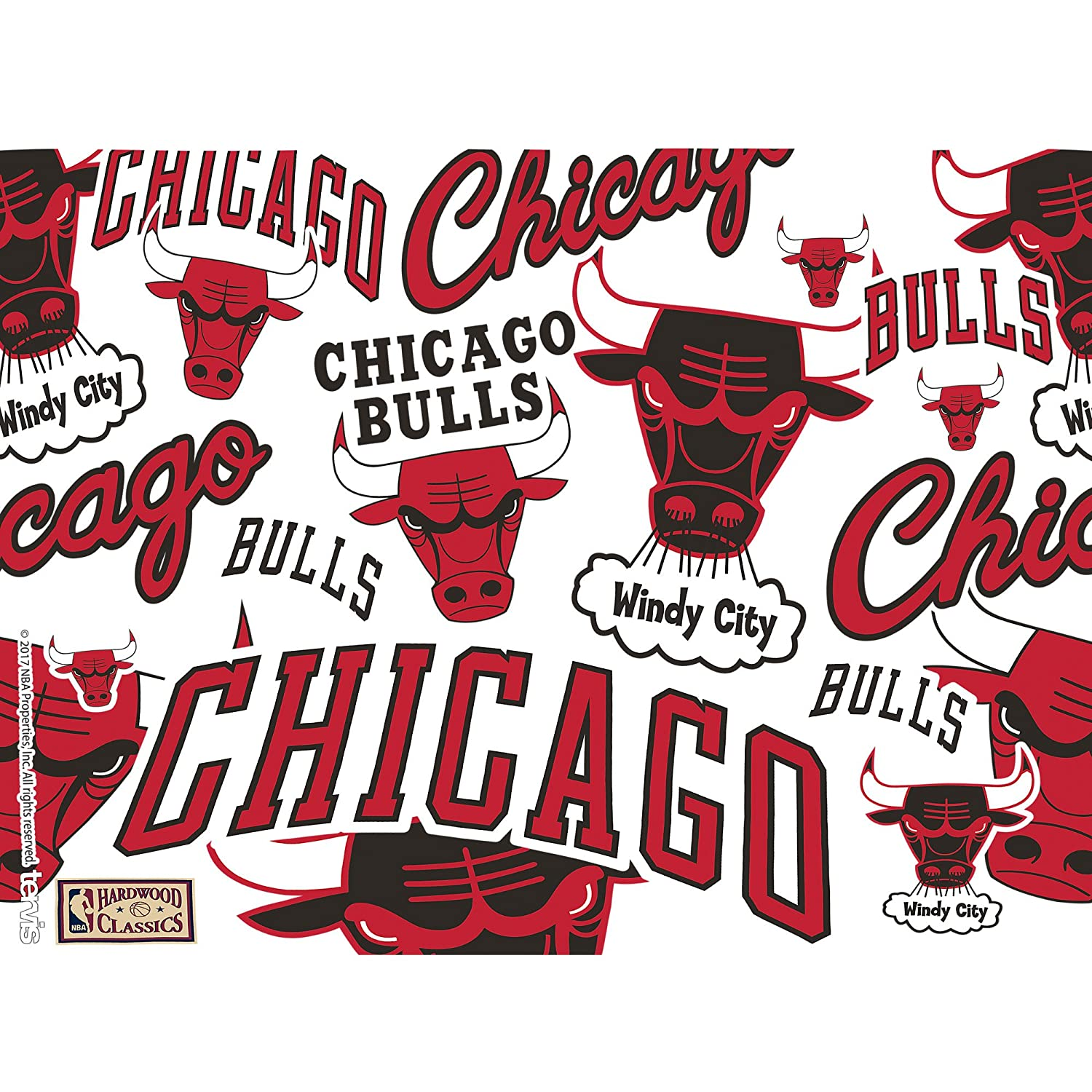 Tervis 1265112 NBA Chicago Bulls All Over Insulated Tumbler with Wrap and Black Lid 24oz Clear
