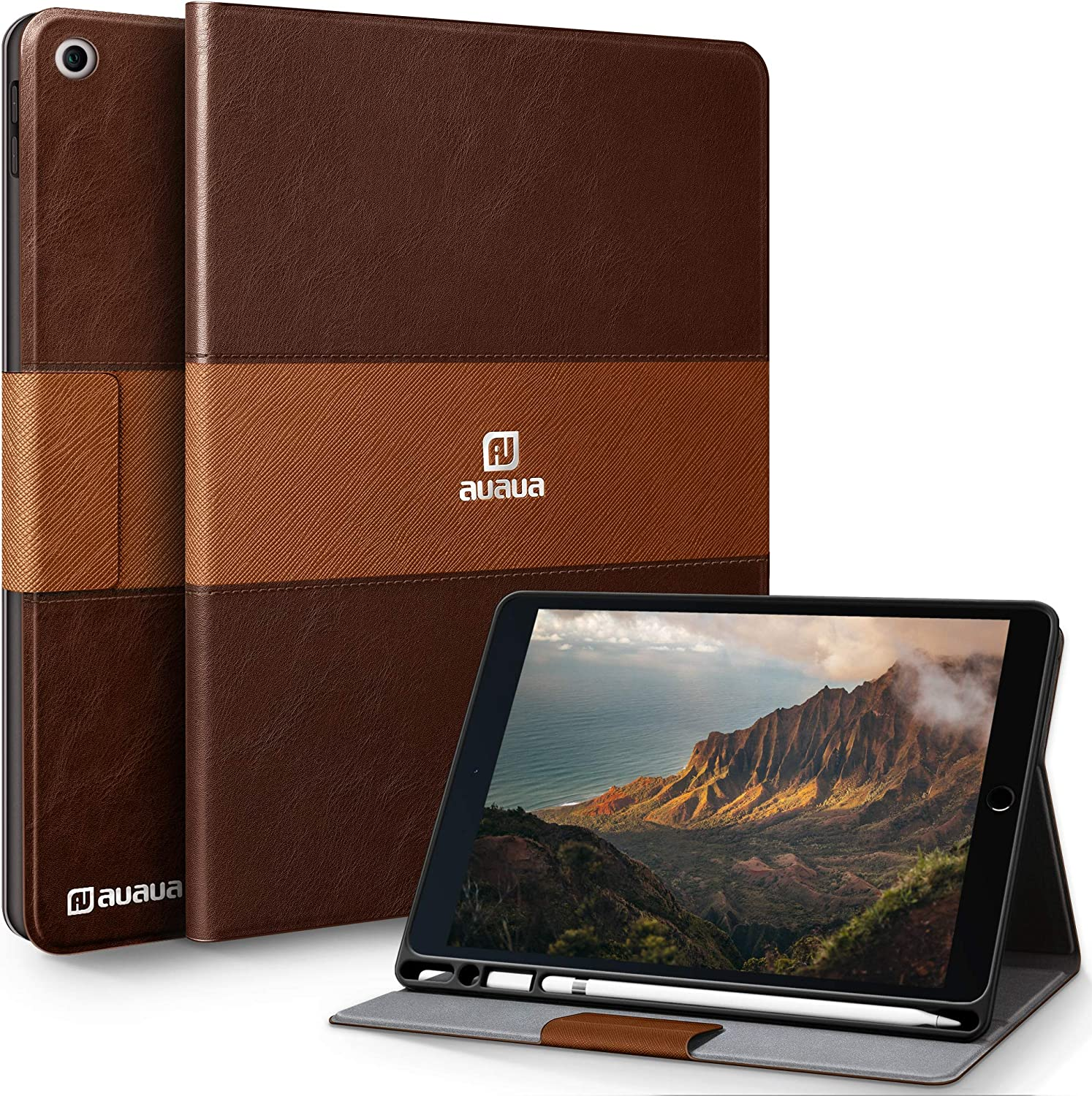 AUAUA iPad 9.7 2018/2017 Case with Built-in Apple Pencil Holder Two-Color Stitching Auto Sleep/Wake Function PU Leather Smart Case Cover for iPad 6th/5th Generation (Brown)